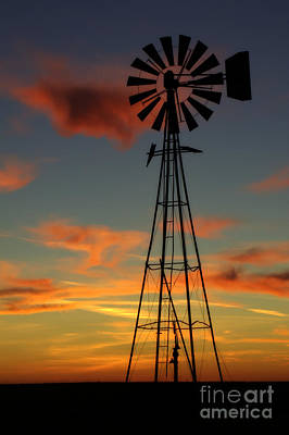 Poster featuring the photograph Windmill At Sunset 1 by Jim McCain