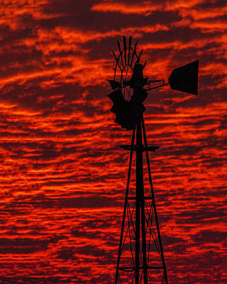 Windmill At Sunset Poster by Rob Graham