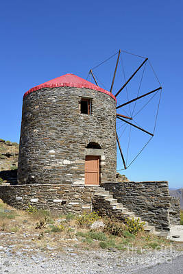 Windmill In Oia Town Poster