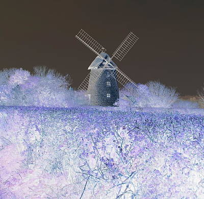 Poster featuring the photograph Windmill In A Purple Haze by Linda Prewer