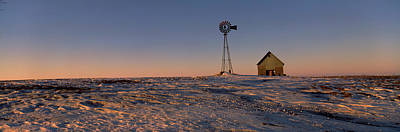 Windmill In A Snow Covered Farmland Poster by Panoramic Images