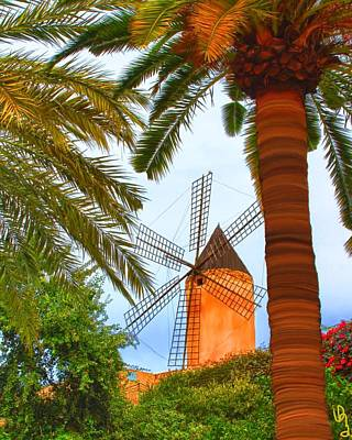 Poster featuring the painting Windmill In Palma De Mallorca by Deborah Boyd