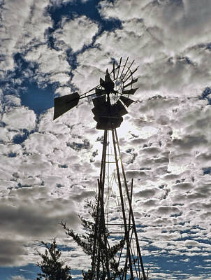 Poster featuring the digital art Windmill In The Clouds by Cathy Anderson