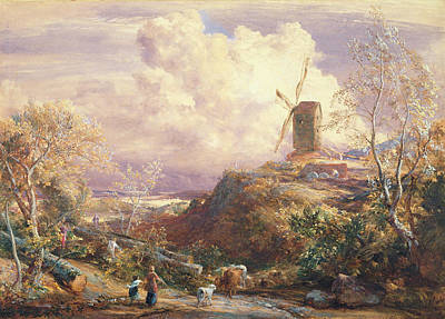 Windmill On A Hill With Cattle Drovers Poster by John Constable