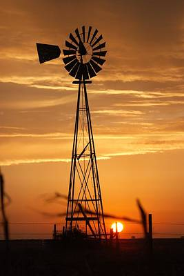 Windmill On The Prairie Poster by Shirley Heier
