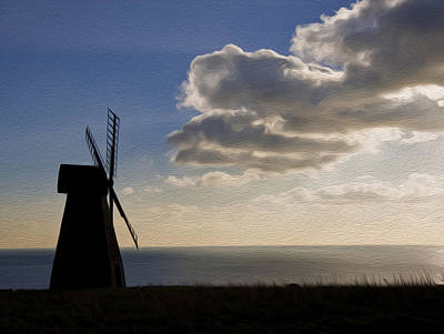Windmill Silhouette Blowing Away Dark Clouds To Reveal Sun Burst Digital Painting Poster by Matthew Gibson