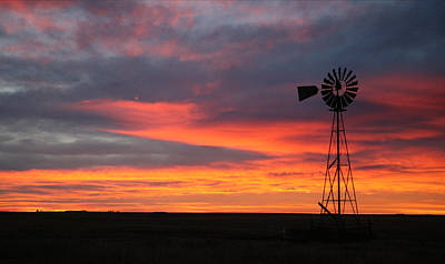 Windmill Sunrise Poster by Shirley Heier