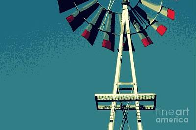 Poster featuring the digital art Windmill by Valerie Reeves