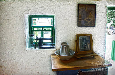 Window And Little Dressing Table In An Old Thatched Cottage Poster