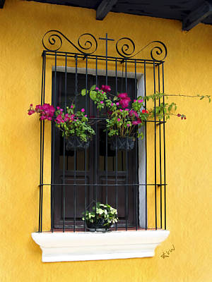 Window At Old Antigua Guatemala Poster by Kurt Van Wagner