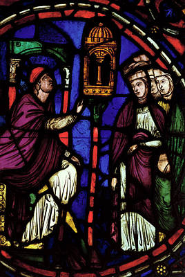 Window Depicting A Man Preaching To Three Women, Ile De France Workshop Stained Glass Poster