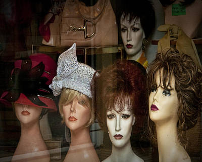 Window Display Of Wigs And Hats Poster by Randall Nyhof
