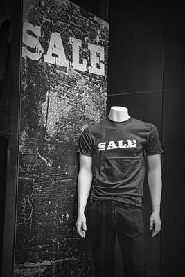 Window Display Sale In Black And White Photograph With Mannequin No.0129 Poster by Randall Nyhof