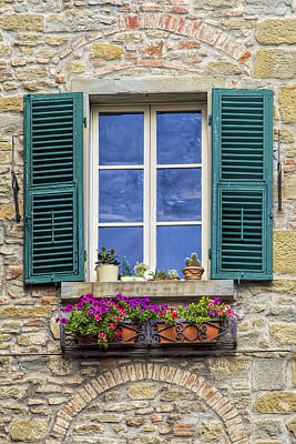 Window Of Tuscany With Green Wood Shutters Poster