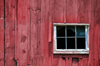 Window On A Red Barn Poster