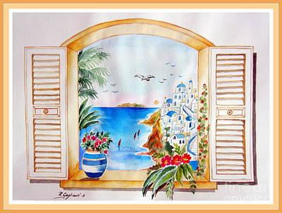 Window On Santorini Poster by Roberto Gagliardi