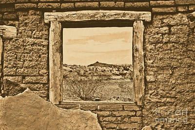 Window Onto Big Bend Desert Southwest Landscape Rustic Digital Art Poster
