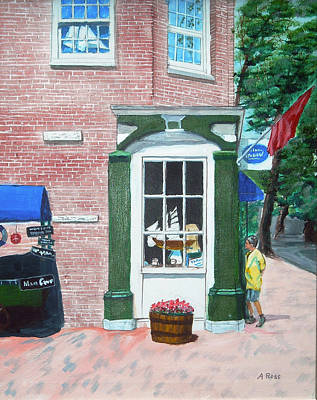 Poster featuring the painting Window Shopping Newburyport by Anthony Ross