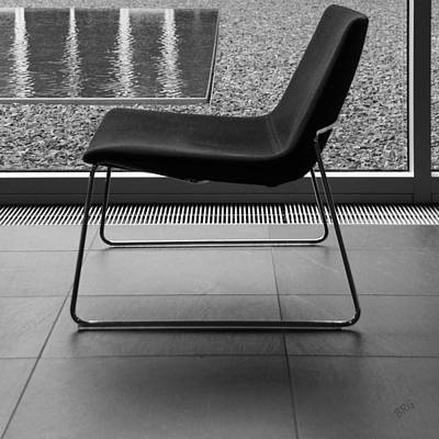Window View With Chair In Black And White Poster by Ben and Raisa Gertsberg