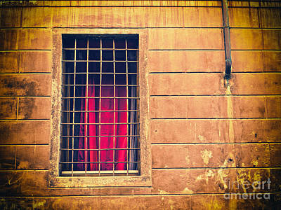 Window With Grate And Red Curtain Poster