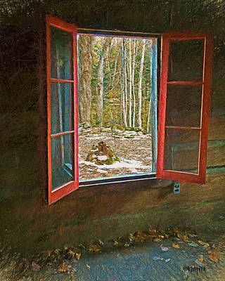 Window With View Abandoned Elkmont Log Cabin Autumn Poster by Rebecca Korpita