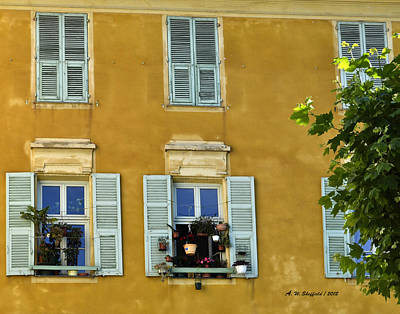 Poster featuring the photograph Windowboxes In Nice France by Allen Sheffield