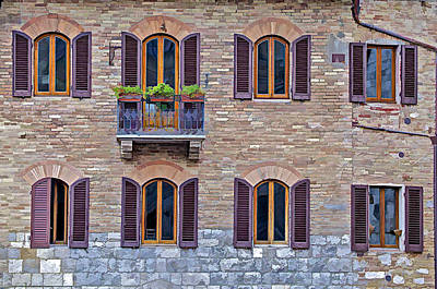 Windows Of A Tuscan Office Building Poster