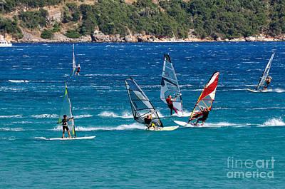 Windsurfing In Vasiliki Bay Poster by George Atsametakis
