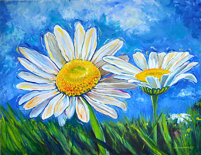 Poster featuring the painting Windswept Daisies by Lisa Fiedler Jaworski