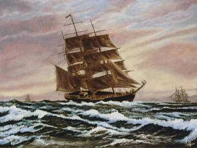 Poster featuring the painting Windy Voyage by Rick Fitzsimons
