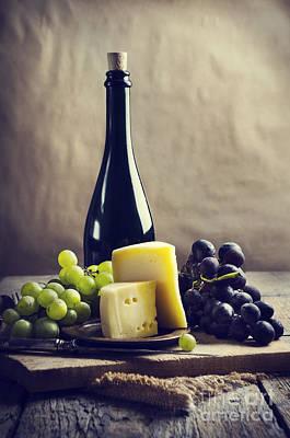 Wine And Cheese Poster by Jelena Jovanovic