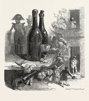 Wine Bottles And Glass Poster by French School