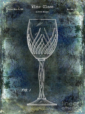 Wine Glass Patent Drawing Antique Blue Poster by Jon Neidert