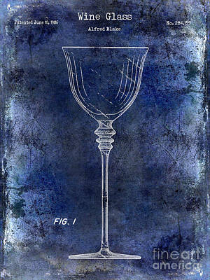 Wine Glass Patent Drawing Blue Poster by Jon Neidert