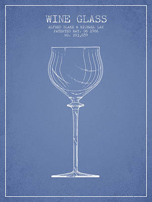 Wine Glass Patent From 1986 - Light Blue Poster