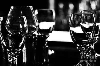 Wine Glasses On Table Poster