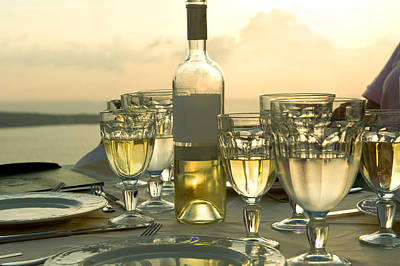Wine Glasses With A Wine Bottle Poster by Panoramic Images