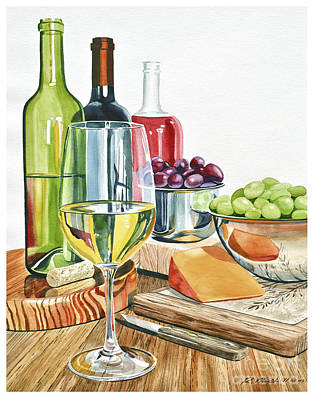 Wine Grapes And Cheese Poster by Rick Mock
