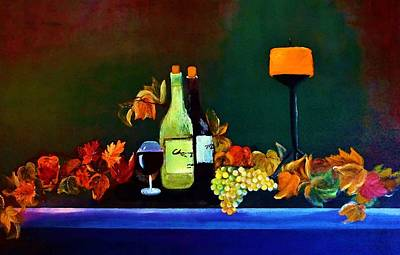 Wine On The Mantel Poster by Lisa Kaiser