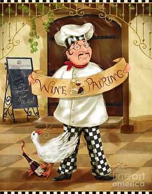 Wine Pairing Chef Poster by Shari Warren