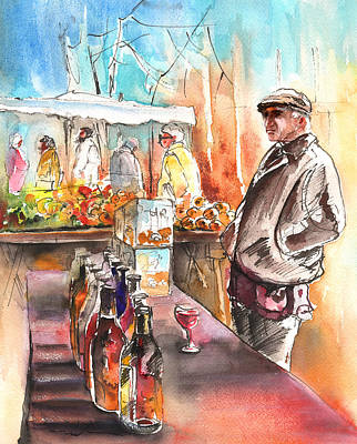 Wine Vendor In A Provence Market Poster by Miki De Goodaboom