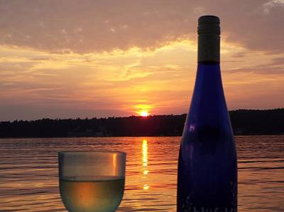 Wine Water Sunset Poster by Cindy Croal