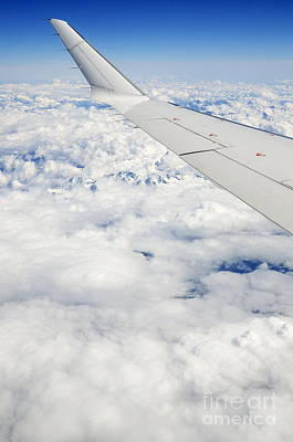 Wing Of Flying Airplane Over French Alps Poster by Sami Sarkis