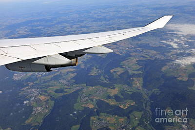 Wing Of Flying Airplane Over German Villages Poster by Sami Sarkis