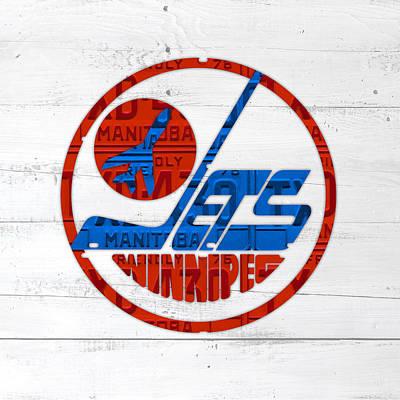 Winnipeg Jets Retro Hockey Team Logo Recycled Manitoba Canada License Plate Art Poster by Design Turnpike