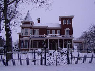 Winter Afternoon At Stephen King Victorian Mansion In Bangor Maine Poster