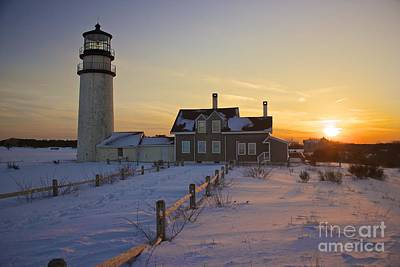 Winter At Highland Lighthouse Poster by Amazing Jules