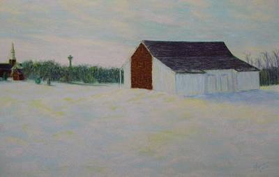 Winter At Mcphersons Barn Gettysburg Poster by Joann Renner