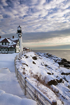 Winter At Portland Head Poster by Eric Gendron