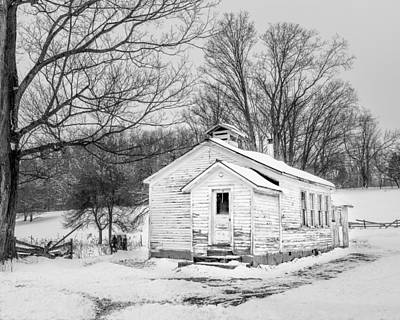 Winter At The Amish Schoolhouse - Bw Poster by Chris Bordeleau